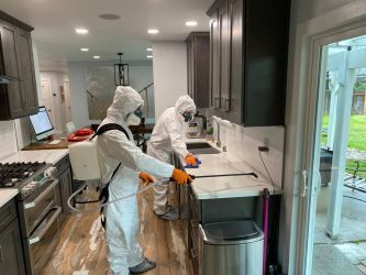 men cleaning, disinfecting, and sanitizing a home