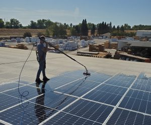 a man professionally cleans solar panels